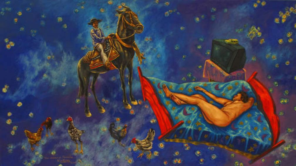 'Un sueño de Priscila', óleo sobre tela de Víctor Quiroga que integra la muestra en el Museo Spilimbergo de Unquillo.