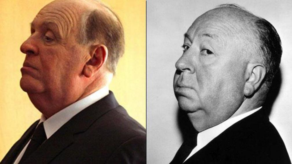 Anthony Hopkins caracterizado como Alfred Hitchcock.