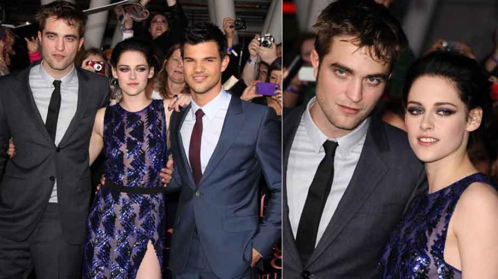 LOS PROTAGONISTAS. Kristen Stewart rodeada por Pattinson y Lautner. A la derecha, junto a Robert (¿Su novio?)
