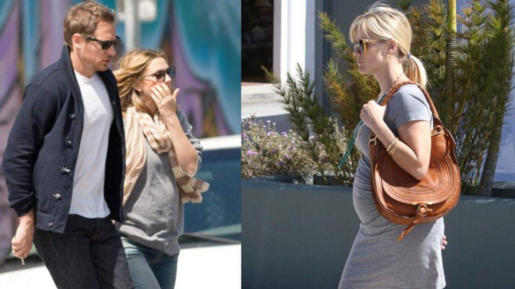 Drew Barrymore (izquierda) y una pancita sospechosa. Reese Witherspoon (derecha) ya muestra varias semanas se embarazo.