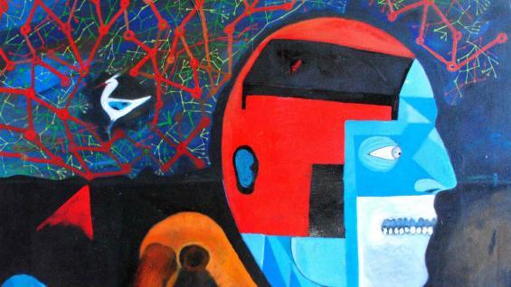 Pintura de Matías Factorovich en la casa de Cultura de Alta Gracia.
