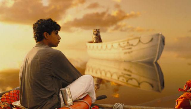 """""""Una aventura extraordinaria"""" cuenta la historia de un joven que naufraga en el Pacífico y debe sobrevivir en un bote, junto a un tigre."""