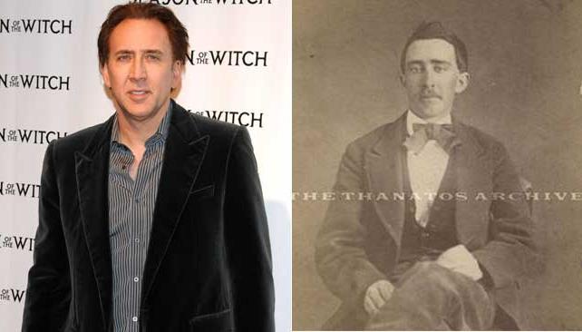NICOLAS CAGE y al lado, el hombre de 1870 que tanto se le parece.