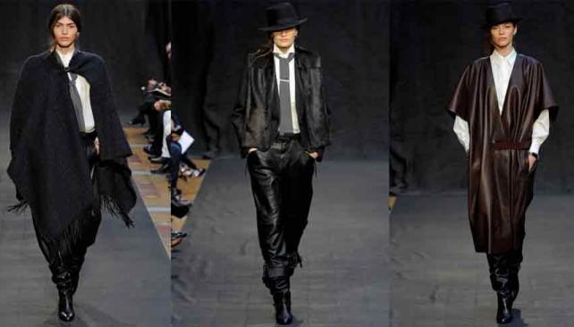 """CHICA DE MUNDO. De izquierda a derecha, Dafne Cejas abriendo la pasarela de Hermès con un look """"a lo gaucha"""""""
