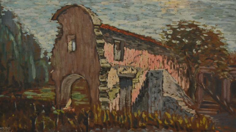 'Capilla Vieja', óleo de 1959, otra de las piezas que presenta la muestra homenaje a Ricardo Pedroni.