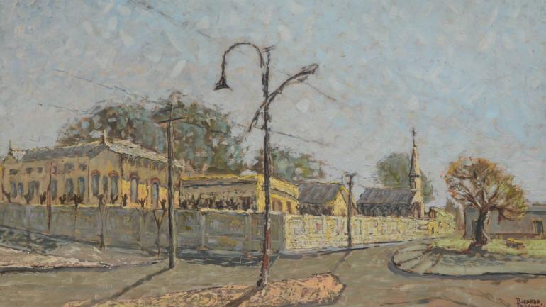 La pintura 'Día soleado' revela cómo era el solar a mediados del siglo pasado. Hoy allí está la Terminal de Ómnibus (la inaugurada en 1968).