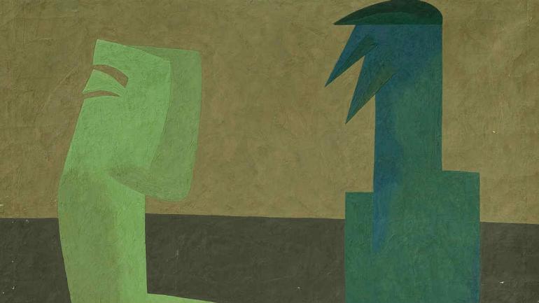Pintura de Osvaldo Gomariz, en el museo Caraffa.