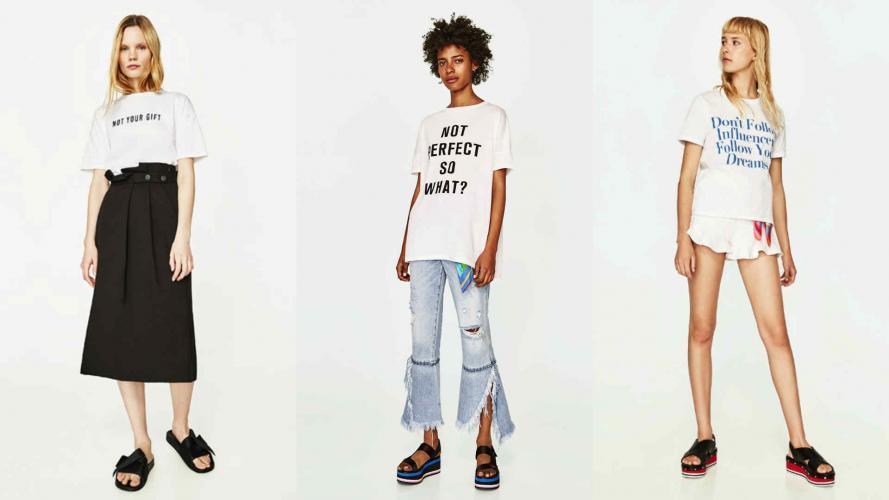 Zara lanza remeras con mensajes feministas, anti influencers y anti estereotipos